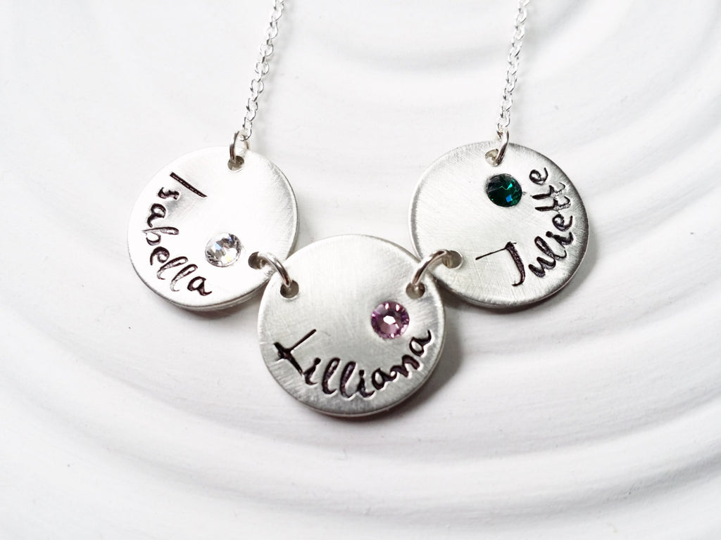Birthstone Mother's Necklace - Personalized Jewelry- Stamped Name Necklace - Child's Name Necklace - Gift for Mom - Grandmother Necklace