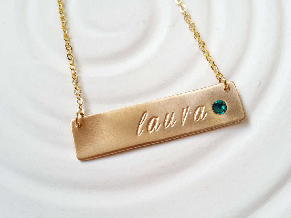 Gold Tone Birthstone Bar Necklace -Hand Stamped -Personalized Jewelry -Mother's Necklace -ID Bar Necklace -Birthstone Necklace -Gift For Her