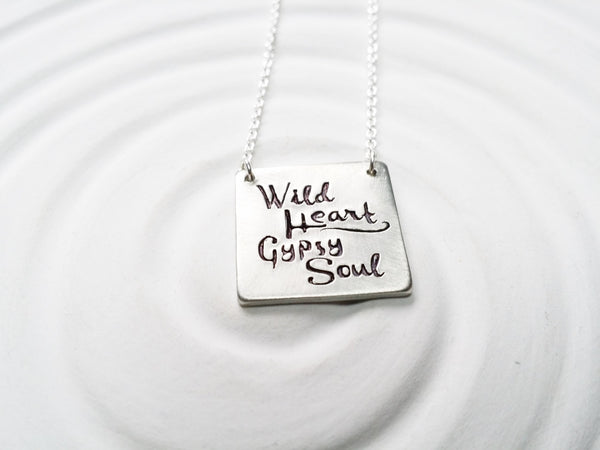 Wild Heart - Gypsy Soul - Square Bar Necklace - Hand Stamped - Personalized Jewelry - Personalized Bar Necklace - Gift for Her