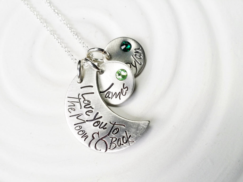 I Love You To The Moon & Back - Personalized Jewelry - Child's Name Necklace - Birthstone Mother's Necklace - Gift for Mom or Grandmother
