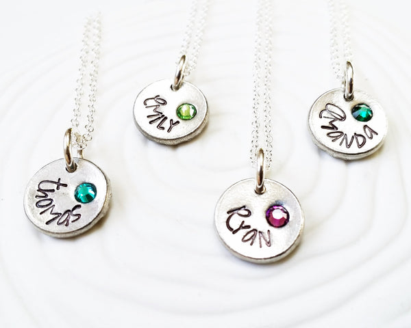 Birthstone Mother's Necklace- Hand Stamped, Personalized Mother's Jewelry - Stamped Birthstone Name Necklace - 1 to 4 Charms