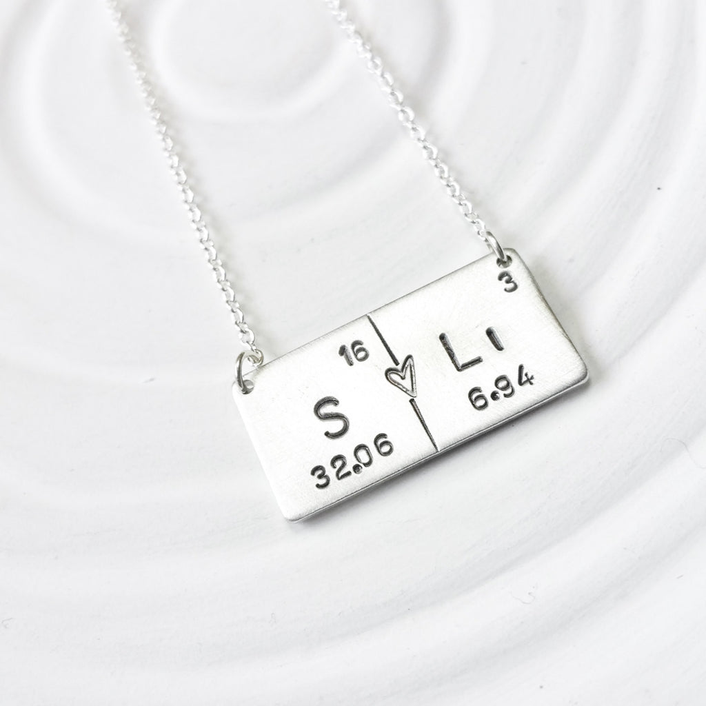 Periodic table element necklace choose your elements lark juniper periodic table element necklace couples necklace hand stamped personalized jewelry bar necklace urtaz Image collections