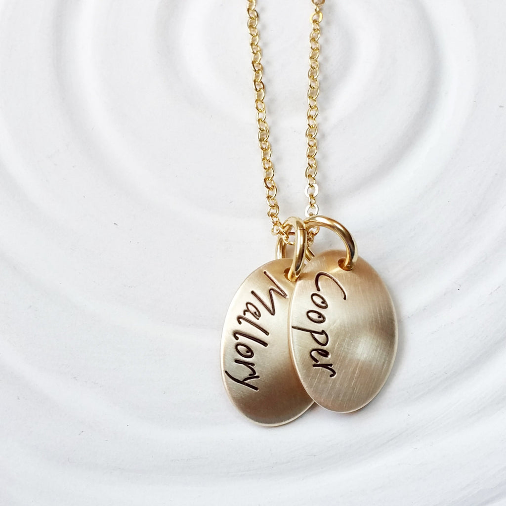 Mother's Necklace - Oval Tag Necklace - Hand Stamped - Personalized Jewelry - Golden Glow Collection - Mother's Day GIft - Gift for Mom
