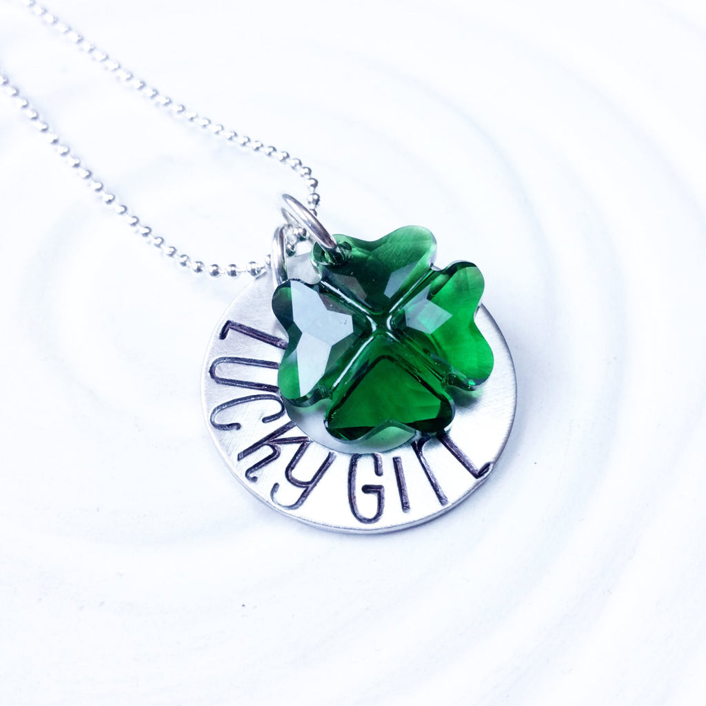 Lucky Girl Necklace - Shamrock Necklace - Crystal Shamrock - Hand Stamped Washer Necklace - Irish Jewelry - St. Patrick's Day