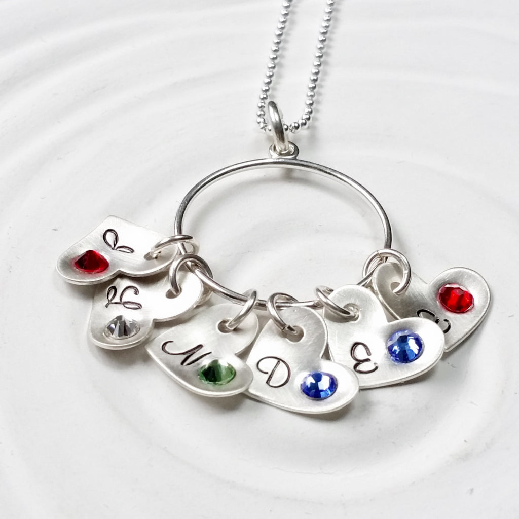 Mother's Heart Necklace - Sterling Silver Hand Stamped Personalized Jewelry - Grandmother's Necklace - Birthstone Heart Charm - Mother's Day