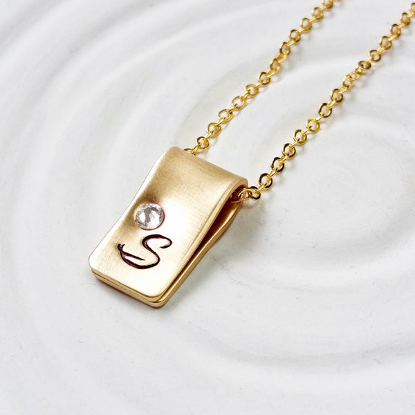 Birthstone Initial Necklace -Gold Initial Fold Over Necklace -Mother's Necklace- Gold Tone Hand Stamped Jewelry-Personalized Jewelry