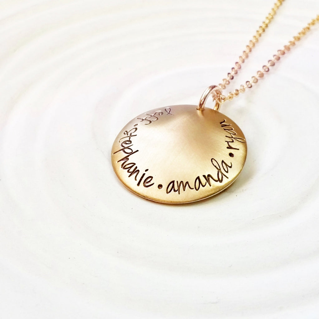 Gold Tone Domed Family Necklace - Hand Stamped - Personalized Jewelry - Family Necklace - Mother's Necklace - Grandmother's Necklace