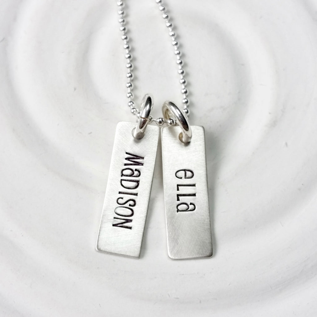 Tiny Rectangle Tag Necklace - Hand Stamped - Personalized Jewelry - Name Necklace - Mother's Necklace - Name Tag Necklace - Mother's Day