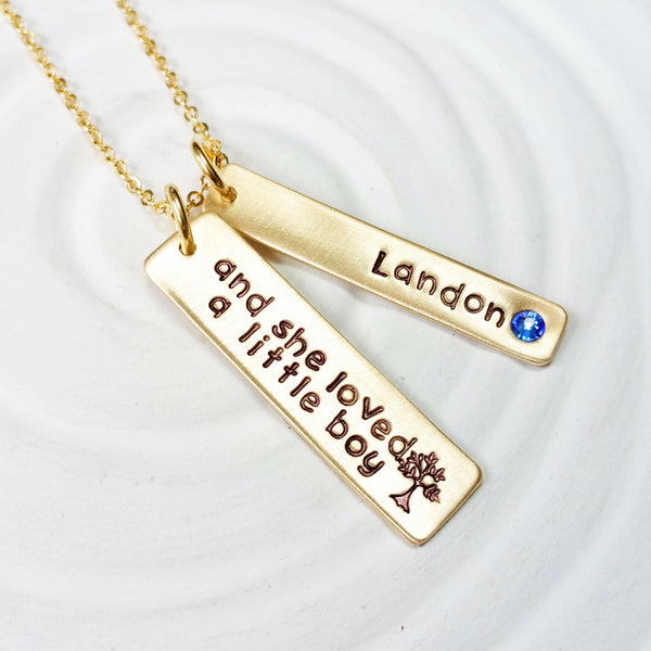 Birthstone Mother's Necklace - Hand Stamped - Personalized Jewelry - Gold Tone Tag Necklace - Mother's Day Gift - And She Loved a Little Boy
