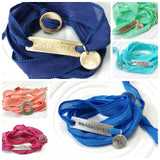 Silk Ribbon Wrap Bracelet | Exclusive Slide Clasp | Beach Saying