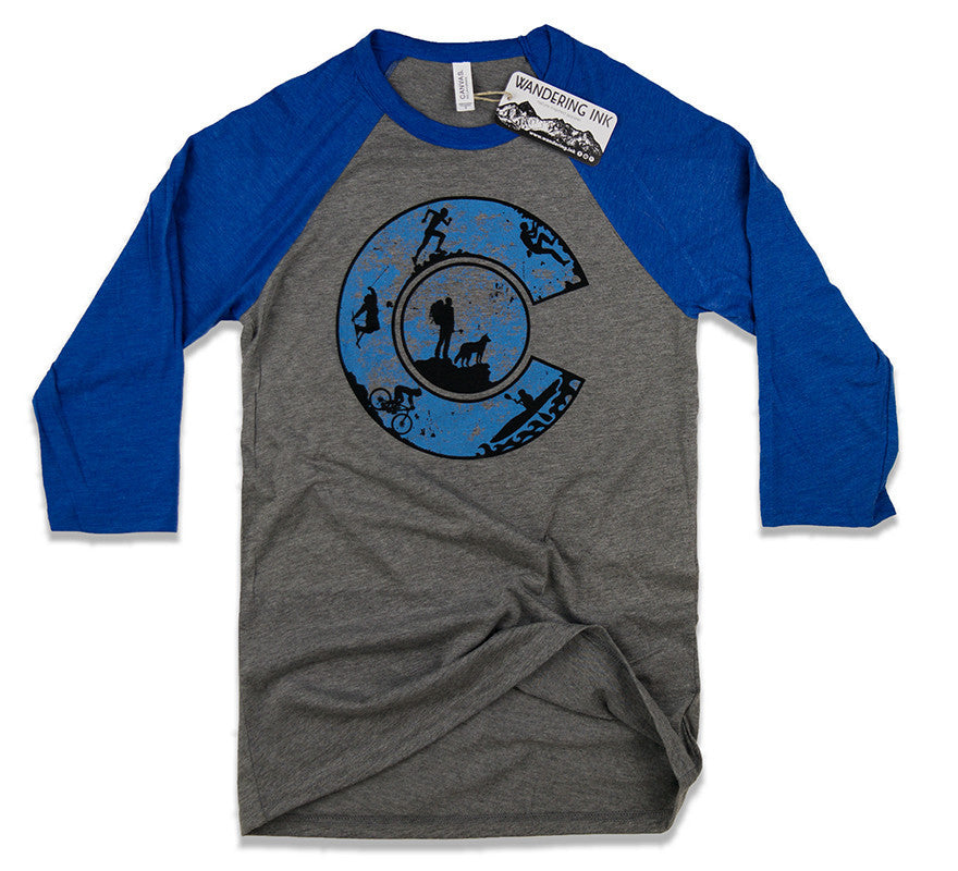 Colorado Adventure Baseball Tee - Grey/Blue