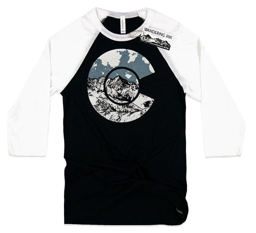 Colorado 3/4 Sleeve Baseball Tee, Men's Colorado Flag Shirt, Wandering Ink