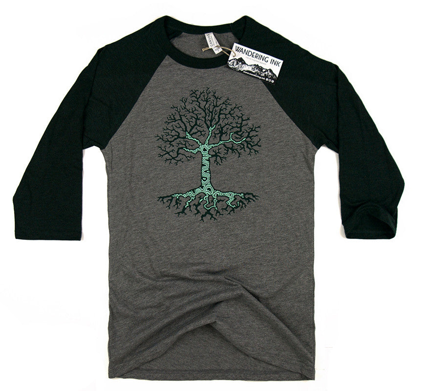 Growth 3/4 Sleeve Baseball Tee, Men's Long Sleeved Tees - Wandering Ink