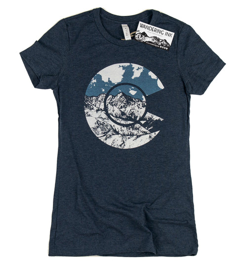 Colorado Tee - Heather Navy, Women's Shirts - Wandering Ink