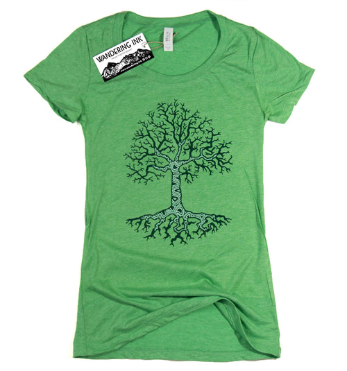Growth Tee - Green Triblend, Women's Shirts - Wandering Ink