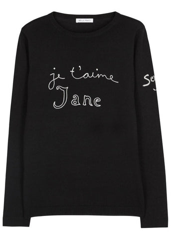 Bella Freud, Je t'aime Jane black wool jumper