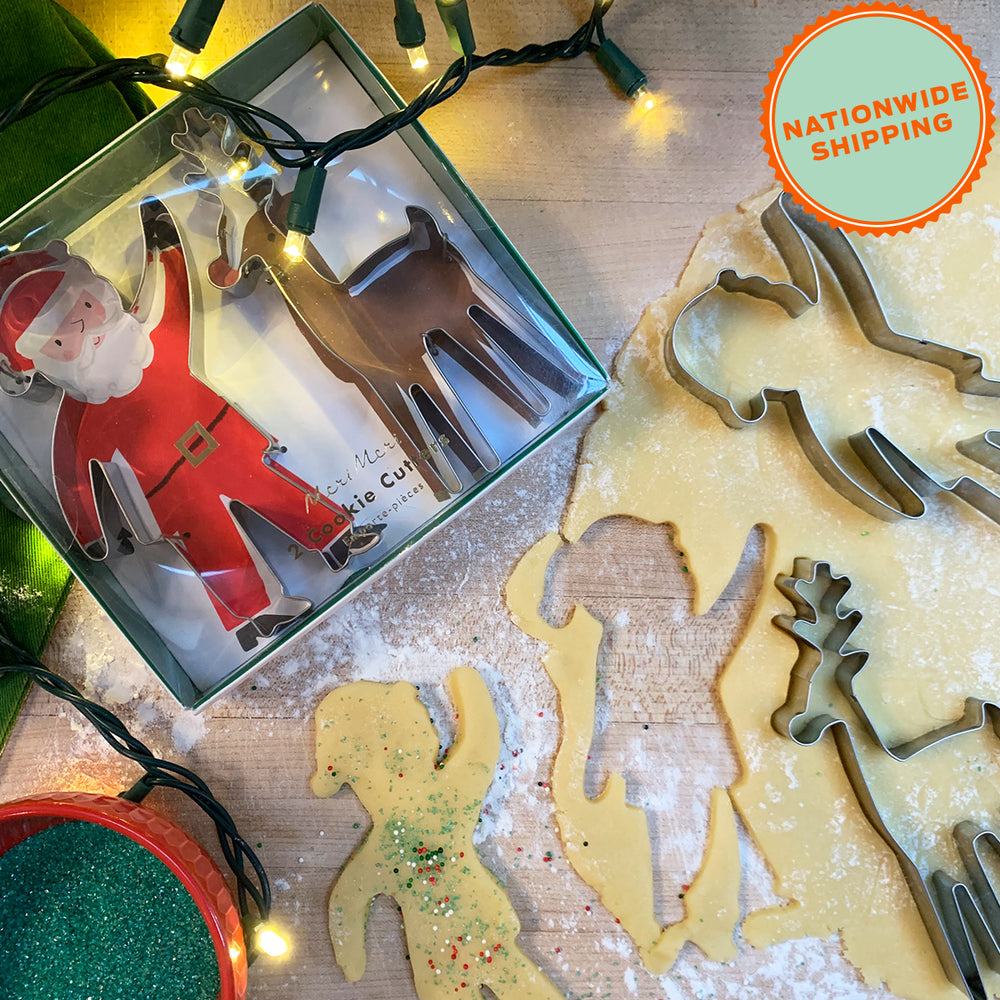 Load image into Gallery viewer, Bake at Home Santa Sugar Cookies + Cutter Set