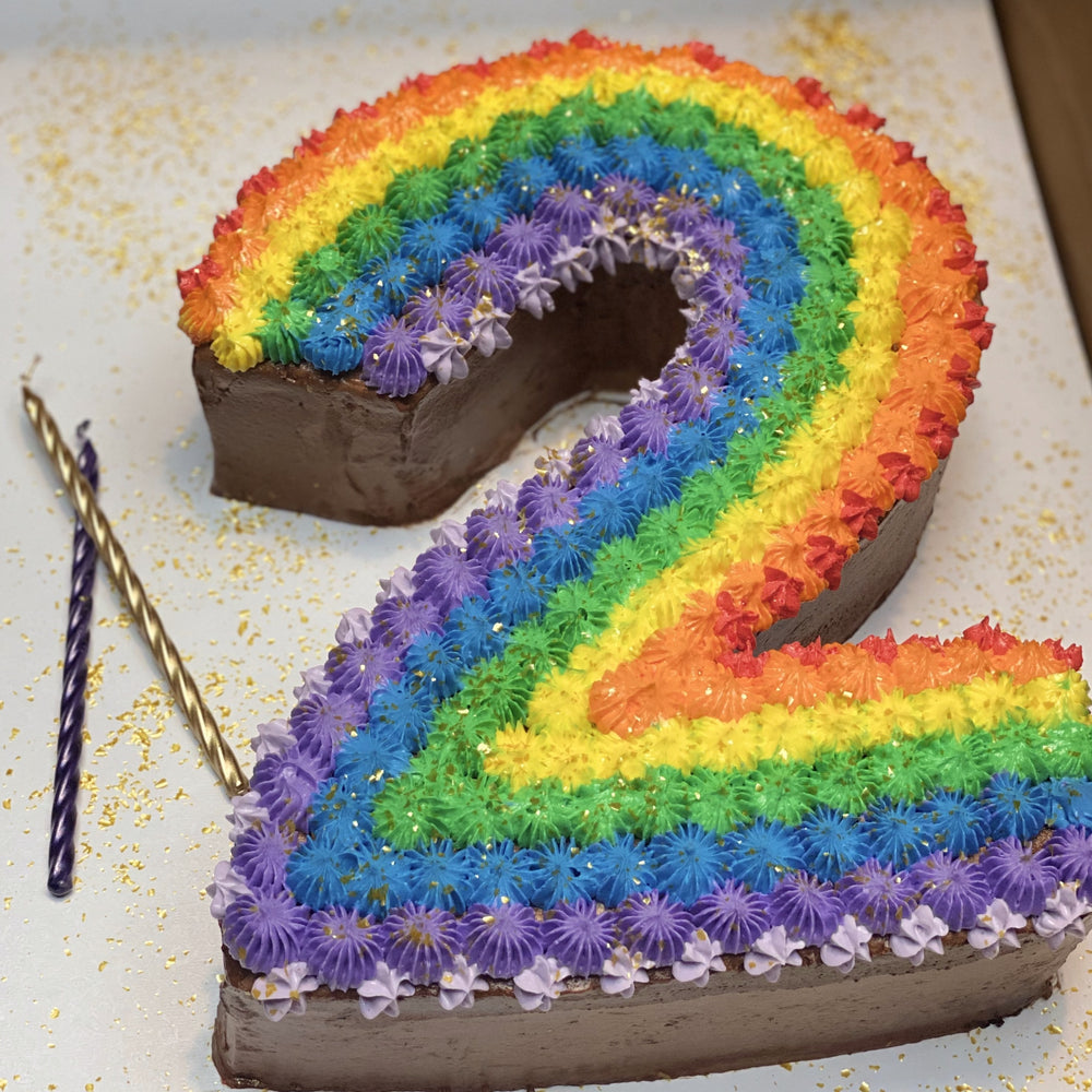 Load image into Gallery viewer, Rainbow Number Cake