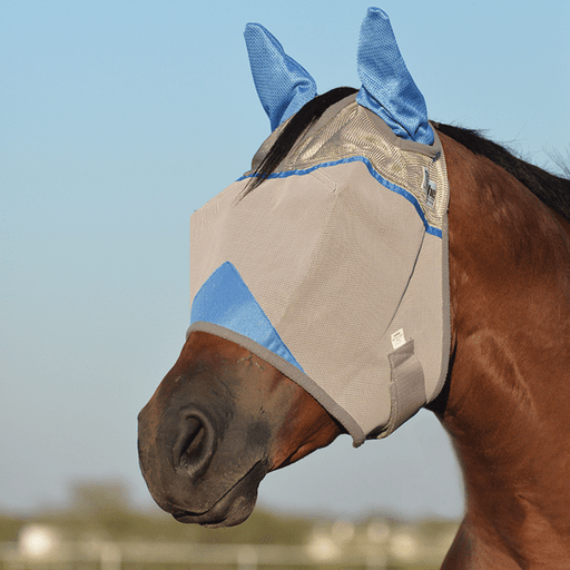 Cashel Crusader Blue Fly Mask - Standard with Ears, Fly Protection - Warmblood Tack Store