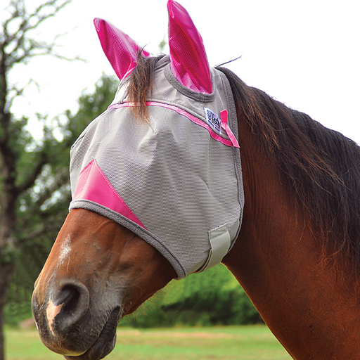 Cashel Crusader Pink Fly Mask - Standard with Ears, Fly Protection - Warmblood Tack Store