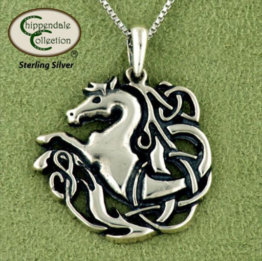 Celtic Knotwork Horse Pendant Necklace, Jewelry - Warmblood Tack Store