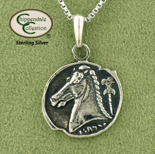 Greek Horse Head Coin Pendant Necklace, Jewelry - Warmblood Tack Store
