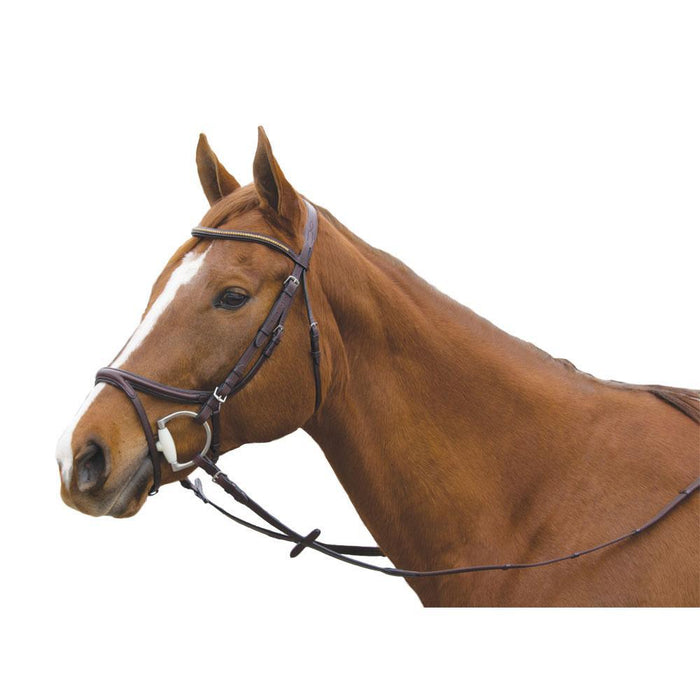 Exselle Elite Plain Raised Leather Jumper Event Bridle with 2 Browbands