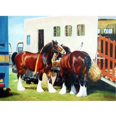A Grand Day Out (Draft Horses) - Greeting Card, Home Goods - Warmblood Tack Store