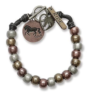 Mixed Metal Beaded Equestrian Bracelet