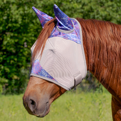 Patterned Cashel Crusader Fly Mask - Purple Flare Horse Size