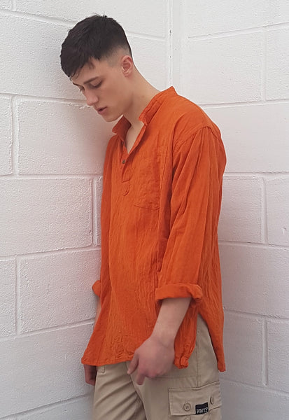 Oversized Crinkly Grandad Shirt Orange
