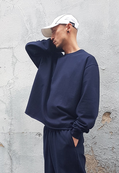 Cropped Ringspun Cotton Sweatshirt Navy