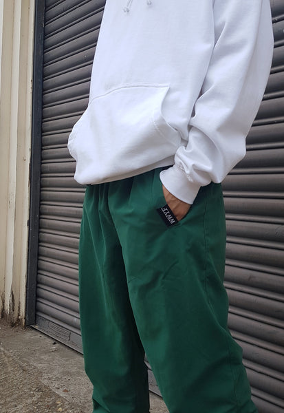 Cuffed Hooligan Trackies Forest Green