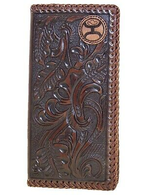 HOOey Mens Western Rodeo Wallet Embossed Floral Laced Edges DK Brown front