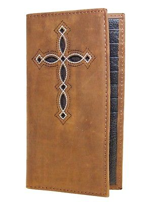 Ariat Mens Western Rodeo Wallet /11 Credit Card Decorative Cross/ Brown