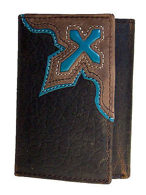 Nocona Mens Western Tri-fold Leather Wallet/Turquoise Cowboy Cross/Brn front