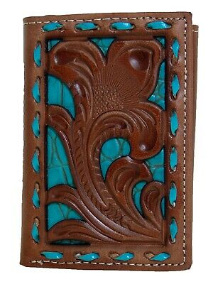 Nocona Mens Western Tri-Fold Wallet Embossed Floral Cut Out Brown Turquoise front
