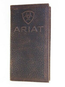 Ariat Mens Western Rodeo Wallet Embossed Full Grain Leather Brown front