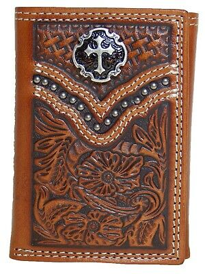Ariat Mens Western Tri-Fold Wallet Cross Concho Embossed Leather Brown front