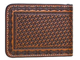 Leather Money Clip Card Holder Basket Weave Brown Nocona Wallets back