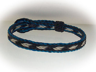 Braided Horse Hair Bracelet One Size Fits All White/Black with Blue Border
