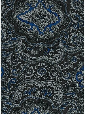XL 42 Inch Paisley Blue/Silver 100% Silk Wild Rags full