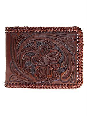 Nocona Mens Western Wallet Bi-fold Tooled and Laced front