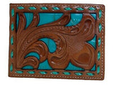 Nocona Mens Western Bi-Fold Wallet Embossed Floral Cut Out Brown Turquoise front