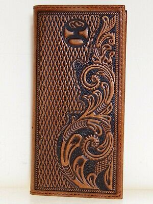 HOOey Mens Western Rodeo Wallet Embossed Floral Diamond Design Brown front