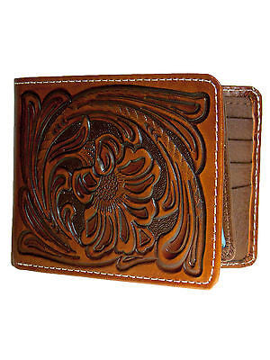 Nocona Mens Western Leather Wallet Bi-fold Style/Tooled front