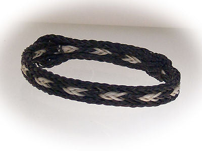 Braided Horse Hair Bracelet One Size Fits All White/Black with Black Border front