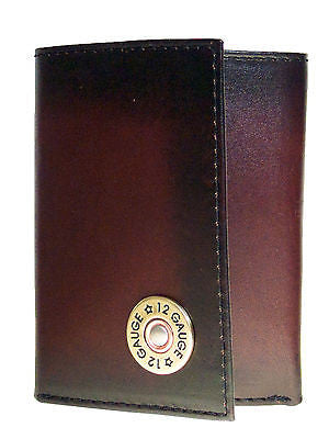 Nocona Mens Western Tri-fold Leather Wallet/Shotgun Shell/Brown front