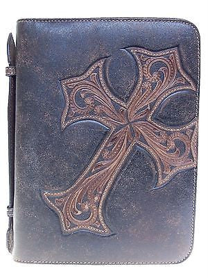 Western Leather Bible Cover with Tooled Diagonal Cross Standard Size front