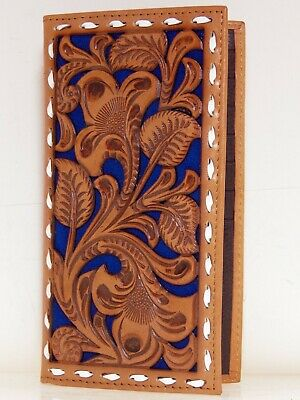 Nocona Mens Western Rodeo Wallet Embossed Floral Cut Out Saddle Tan Blue front